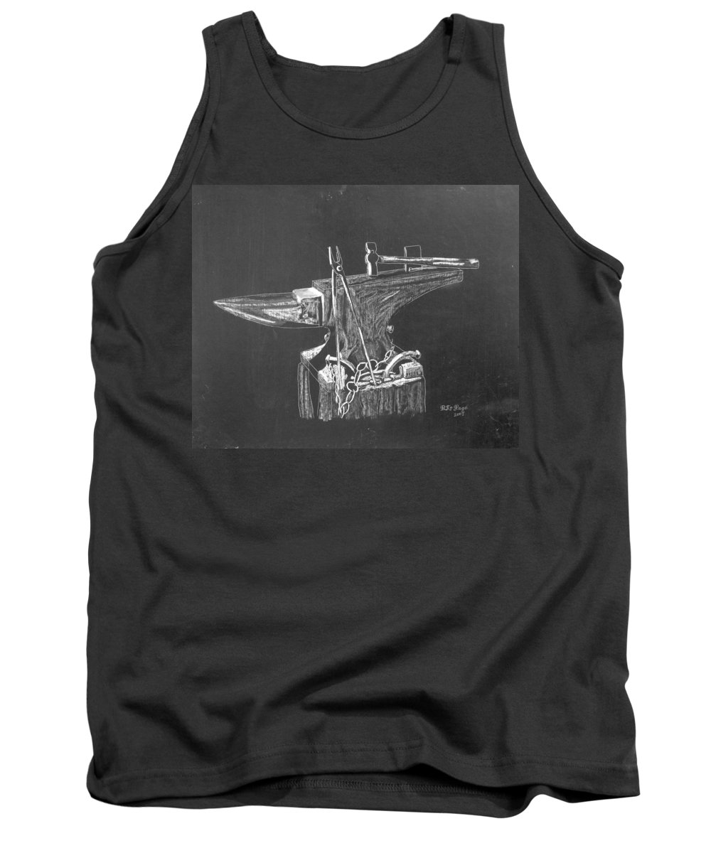 Anvil Tank Top featuring the painting Anvil by Richard Le Page