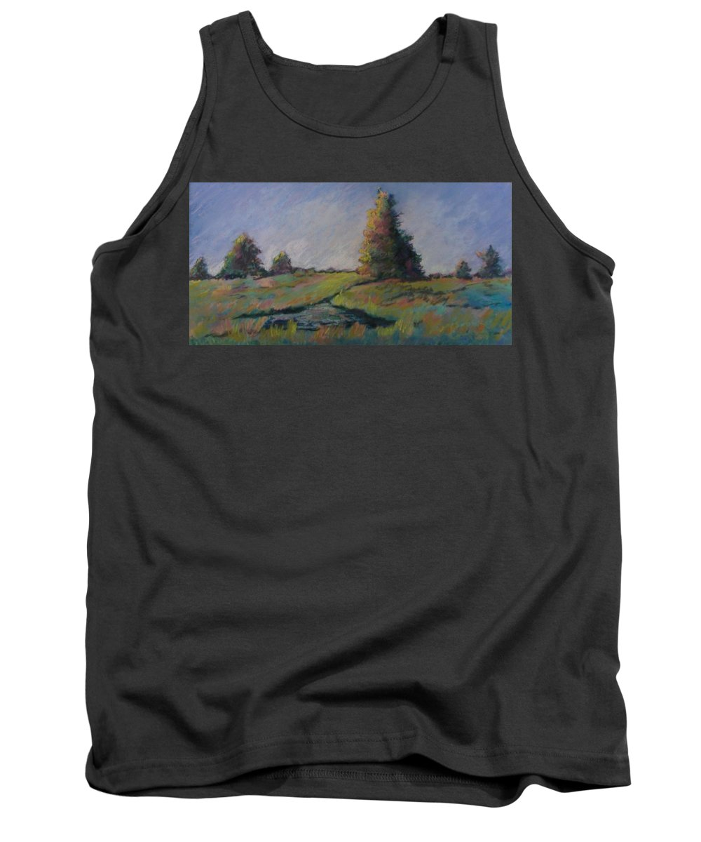 Landscape Tank Top featuring the pastel Apple Pond by Pat Snook