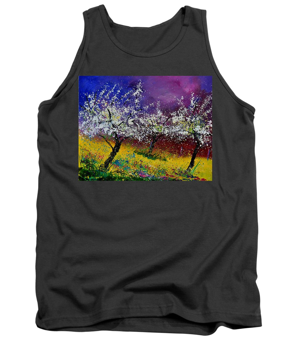 Landscape Tank Top featuring the painting Appletrees In Blossom 450160 by Pol Ledent