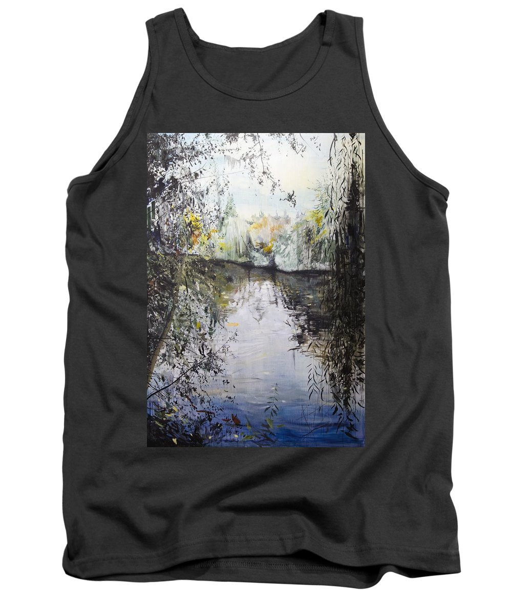 Blue Tank Top featuring the painting Approaching Dusk by Calum McClure