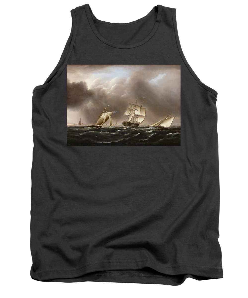 James Edward Buttersworth Tank Top featuring the painting Approaching Squall by James Edward Buttersworth