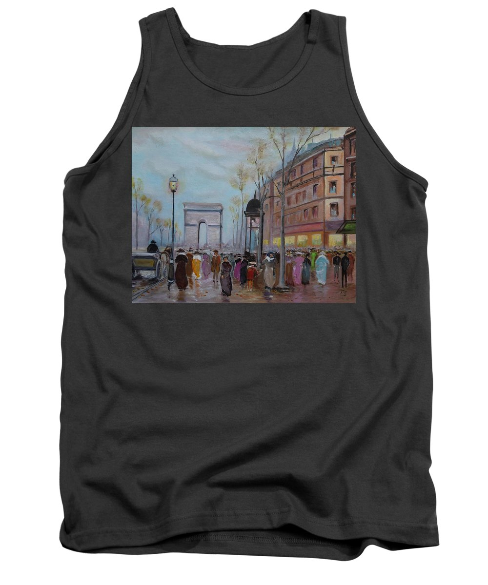 Paris Tank Top featuring the painting Arc De Triompfe - Lmj by Ruth Kamenev
