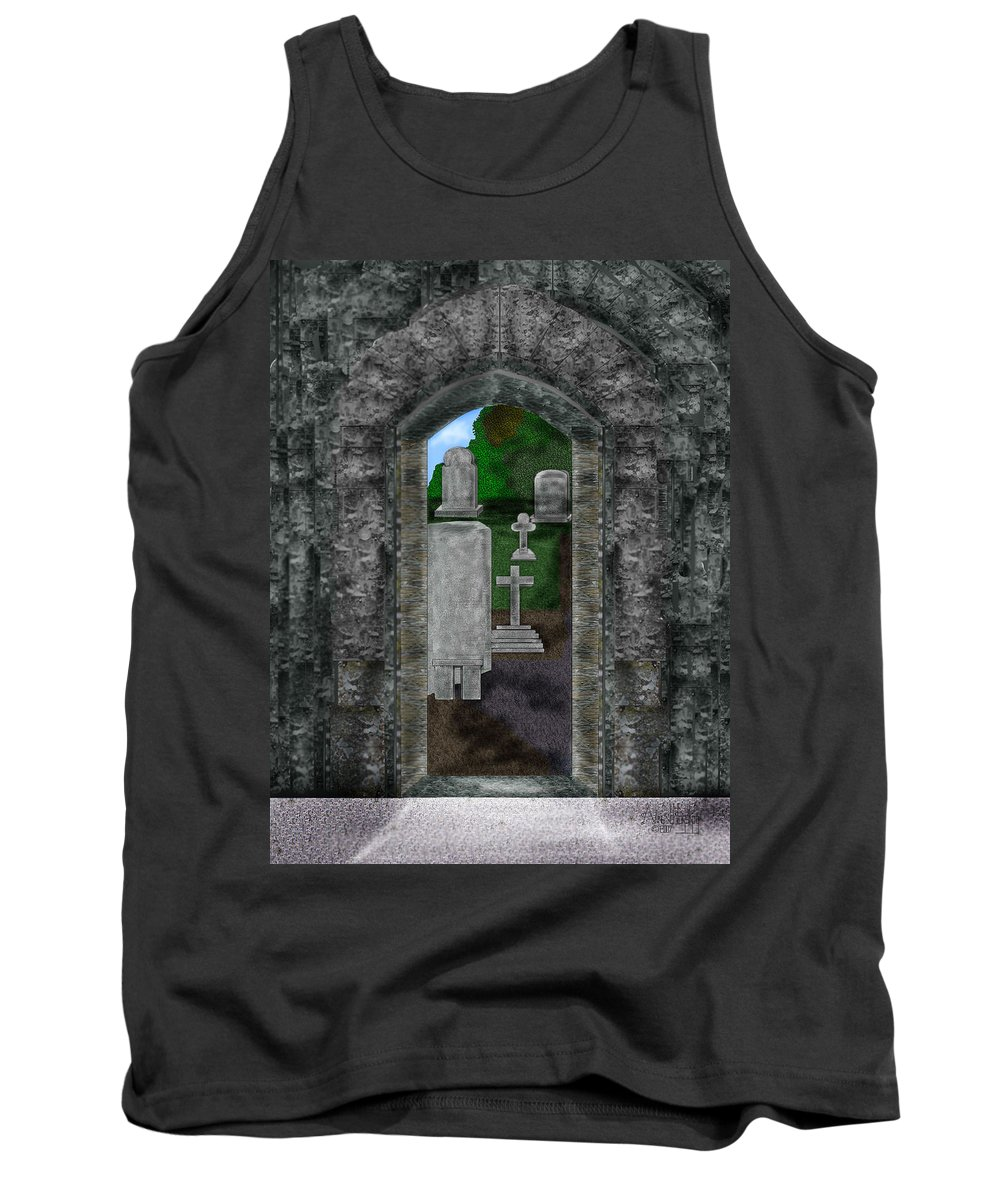 Digital Landscape Tank Top featuring the painting Arches And Cross In Ireland by Anne Norskog