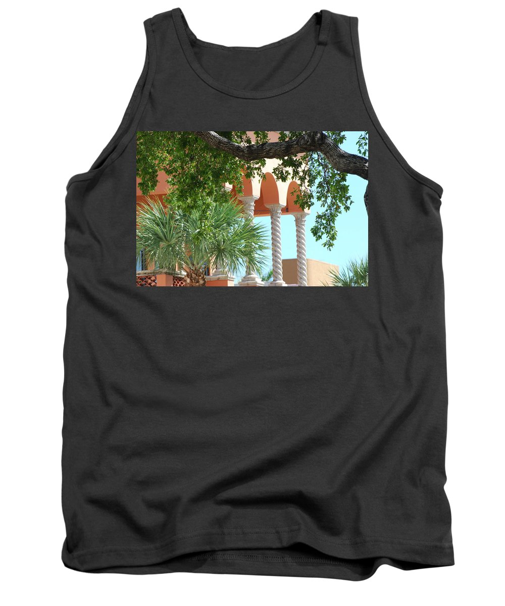 Architecture Tank Top featuring the photograph Arches Thru The Trees by Rob Hans