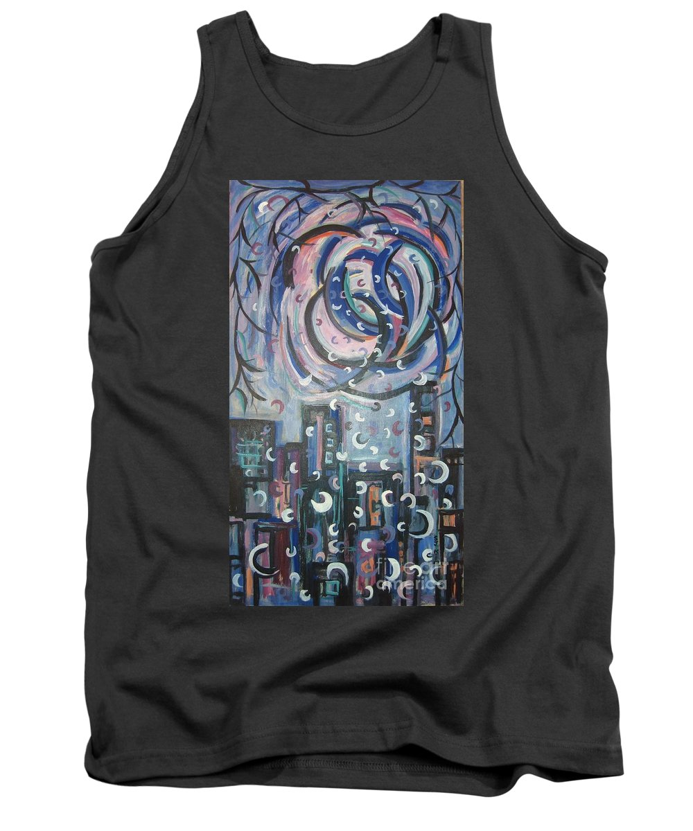 Abstract Tank Top featuring the painting Aren by Seon-Jeong Kim