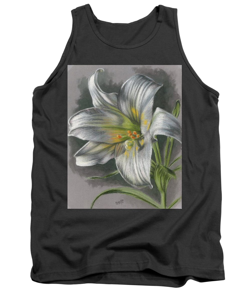 Easter Lily Tank Top featuring the mixed media Arise by Barbara Keith
