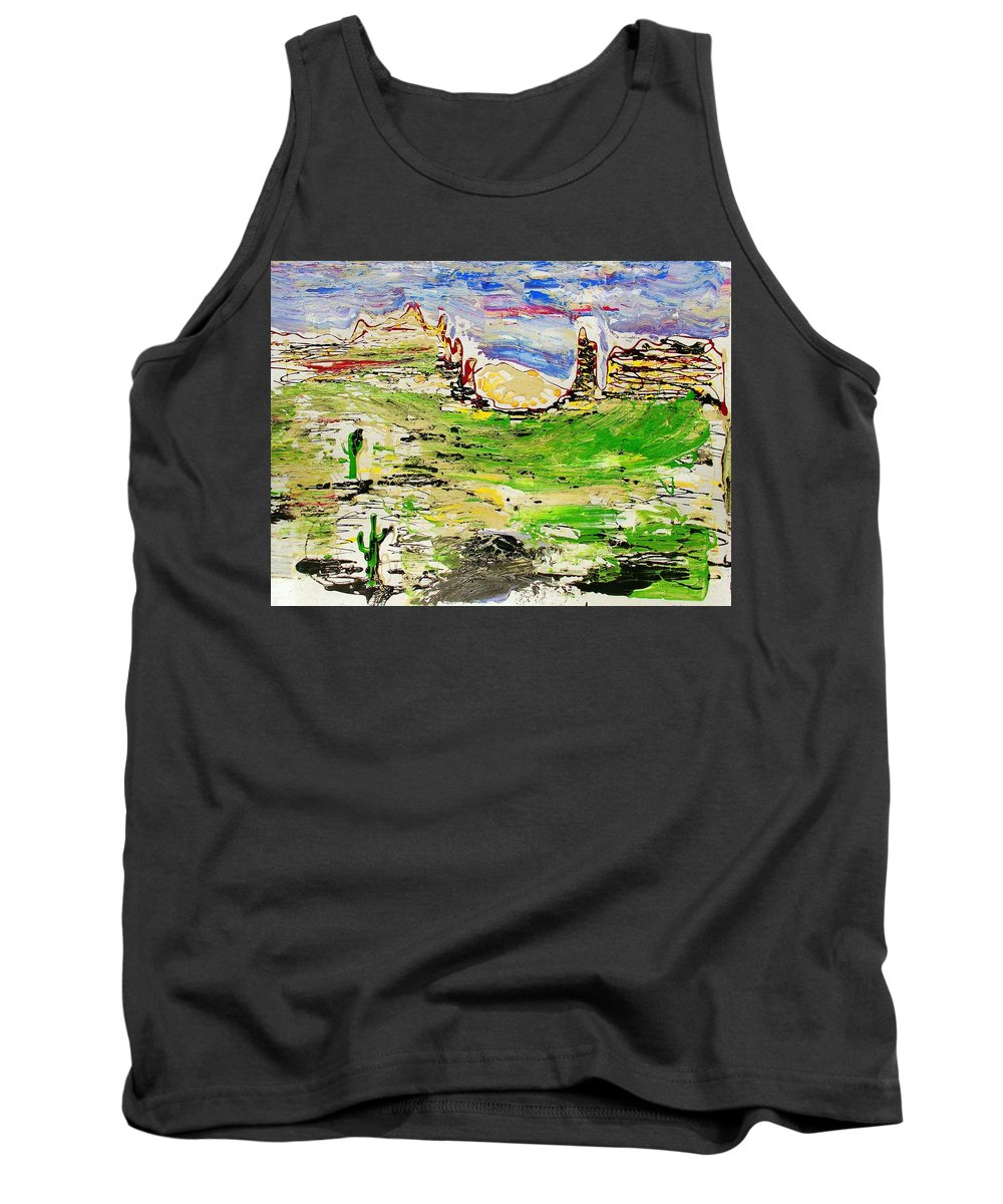 Cactus Tank Top featuring the painting Arizona Skies by J R Seymour