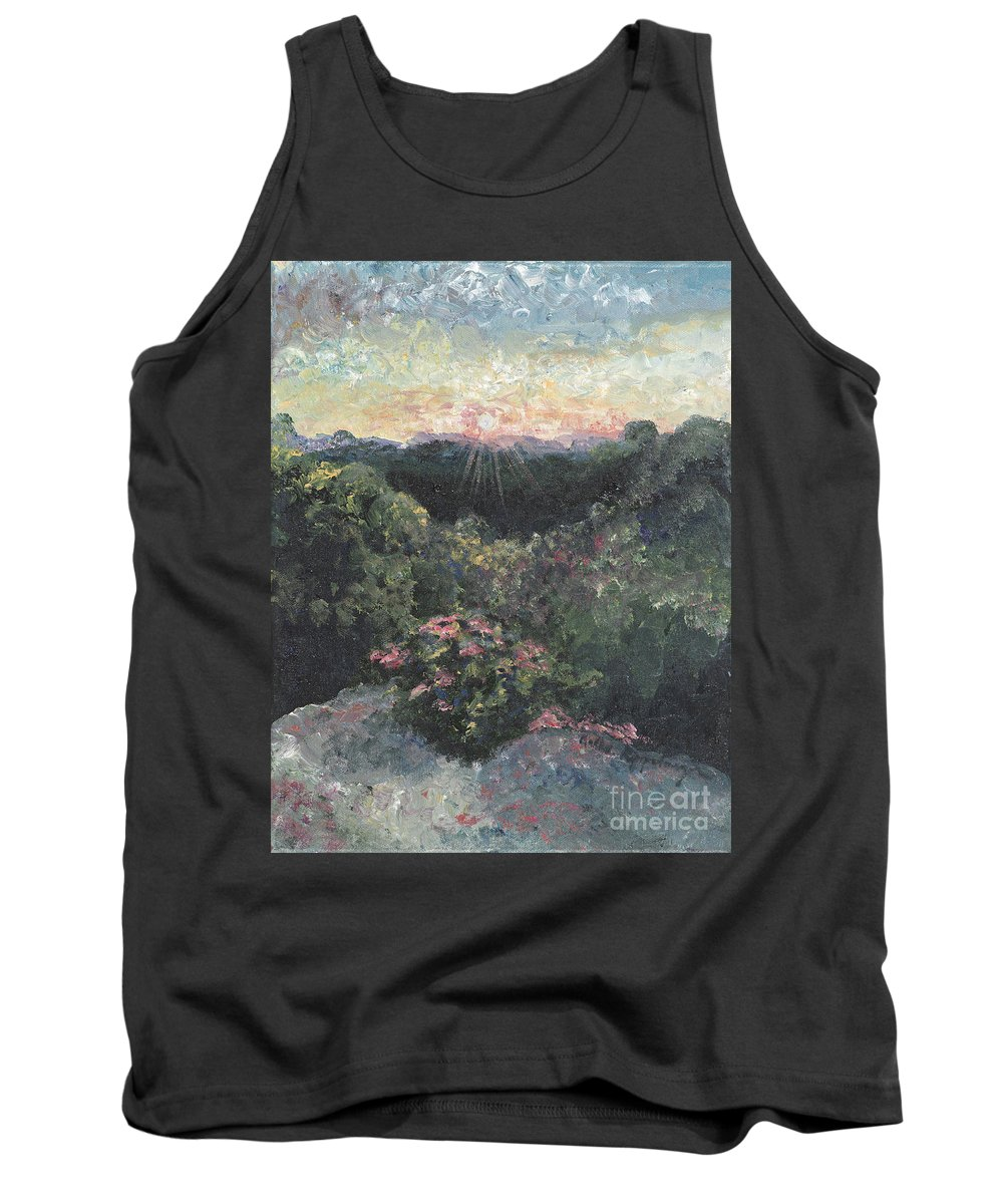 Landscape Tank Top featuring the painting Arkansas Mountain Sunset by Nadine Rippelmeyer