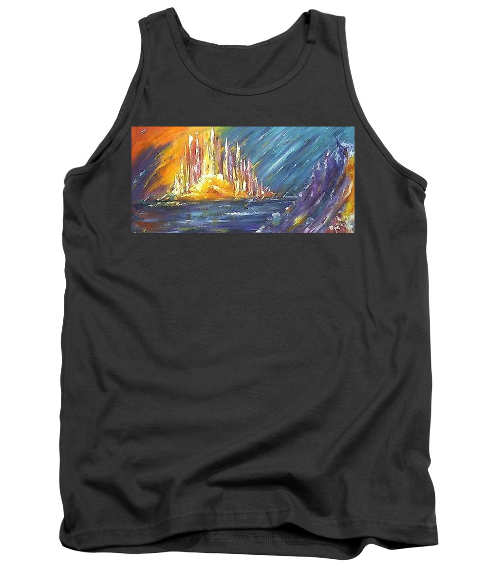 Fiery Tank Top featuring the painting Armageddon by Melody Horton Karandjeff