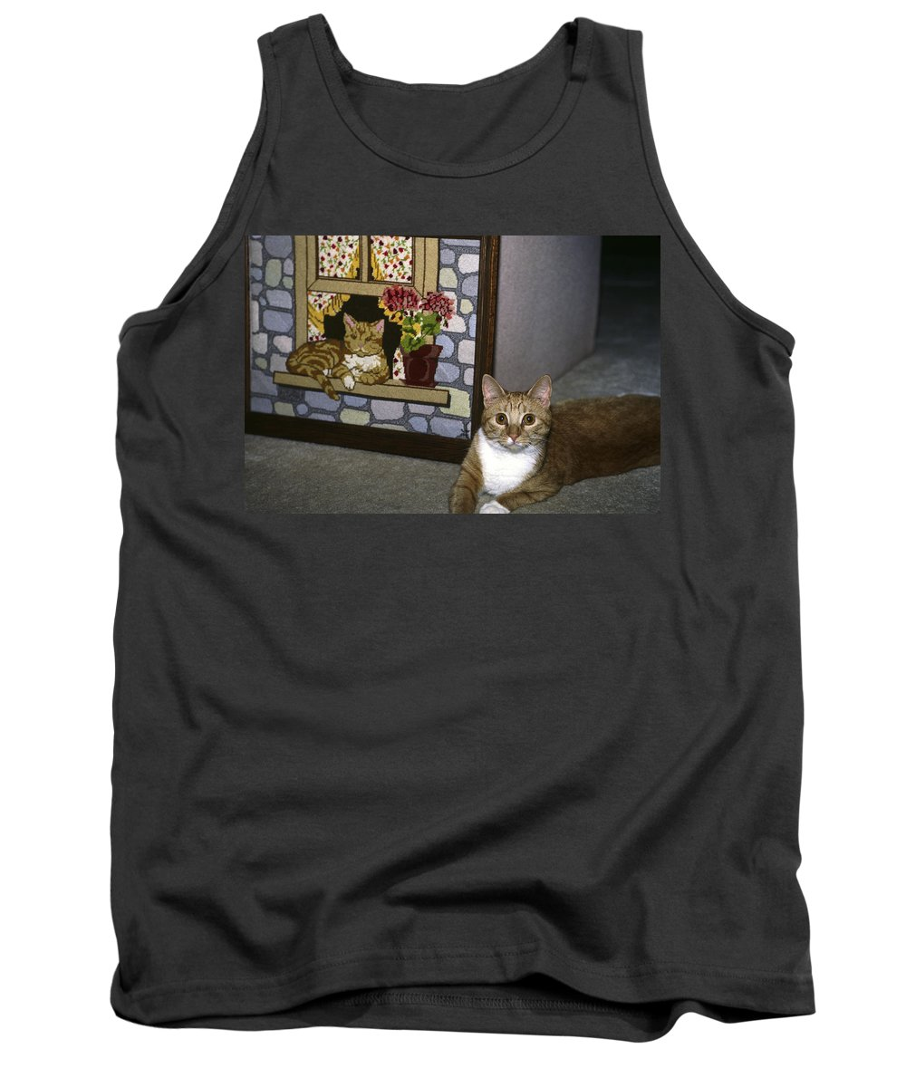 Tabby Cat Sitting Beside Needlepoint Tank Top featuring the photograph Art Imitates Life by Sally Weigand