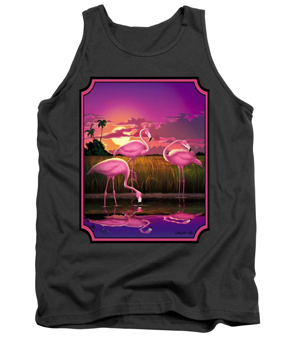 Flamingoes Tank Top featuring the photograph Flamingoes Flamingos Tropical Sunset Landscape Florida Everglades Large Hot Pink Purple Print by Walt Curlee