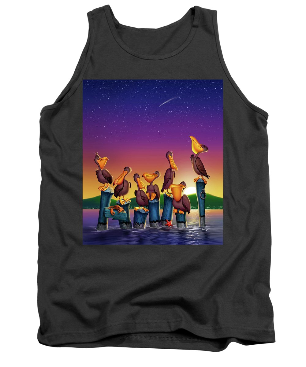 Pelicans On Poles Tank Top featuring the painting Pelican Sunset Whimsical Cartoon Tropical Birds Seascape Print Blue Orange Purple Yellow by Walt Curlee