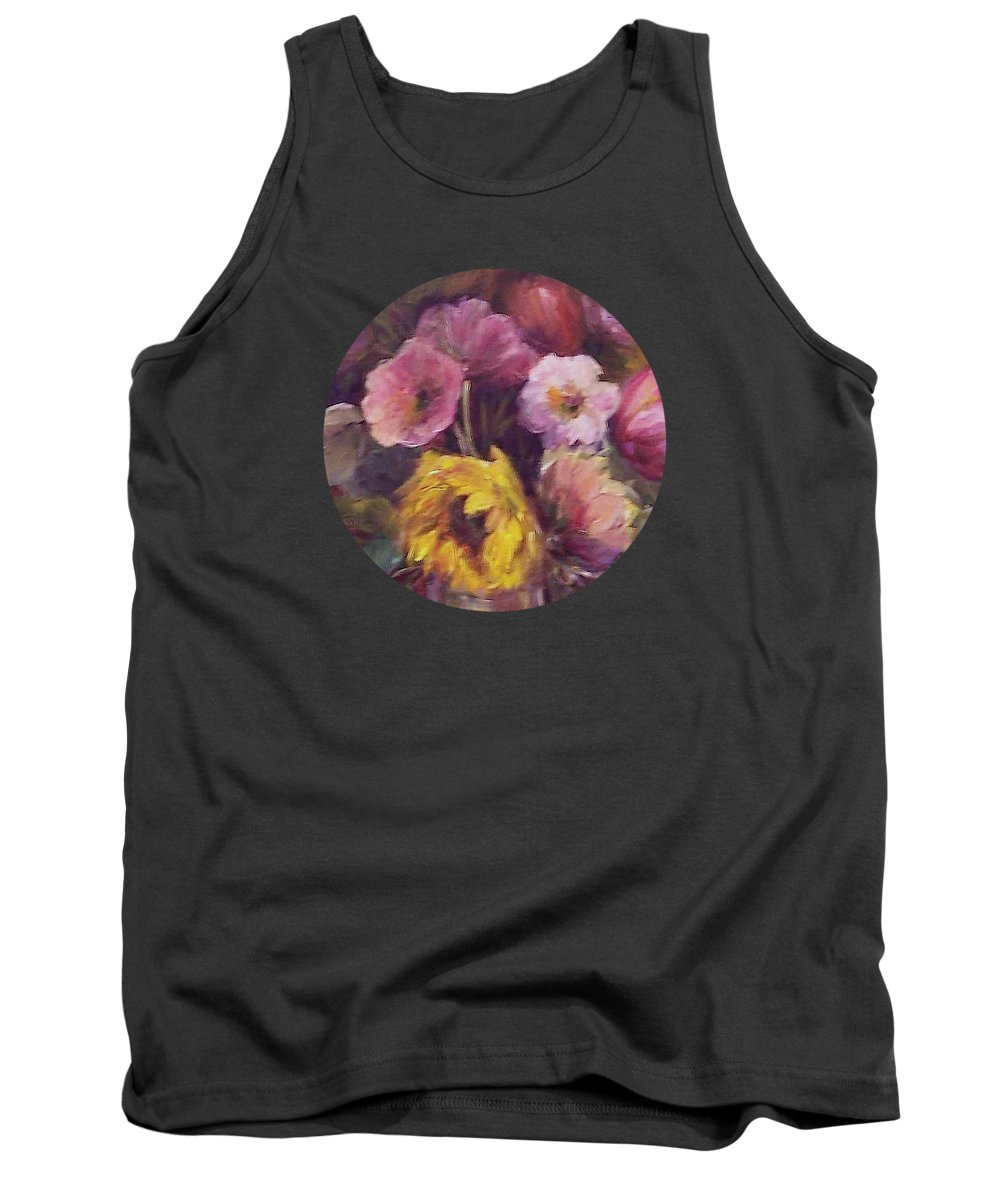 Floral Art Tank Top featuring the painting Abundance- Floral Painting by Mary Wolf