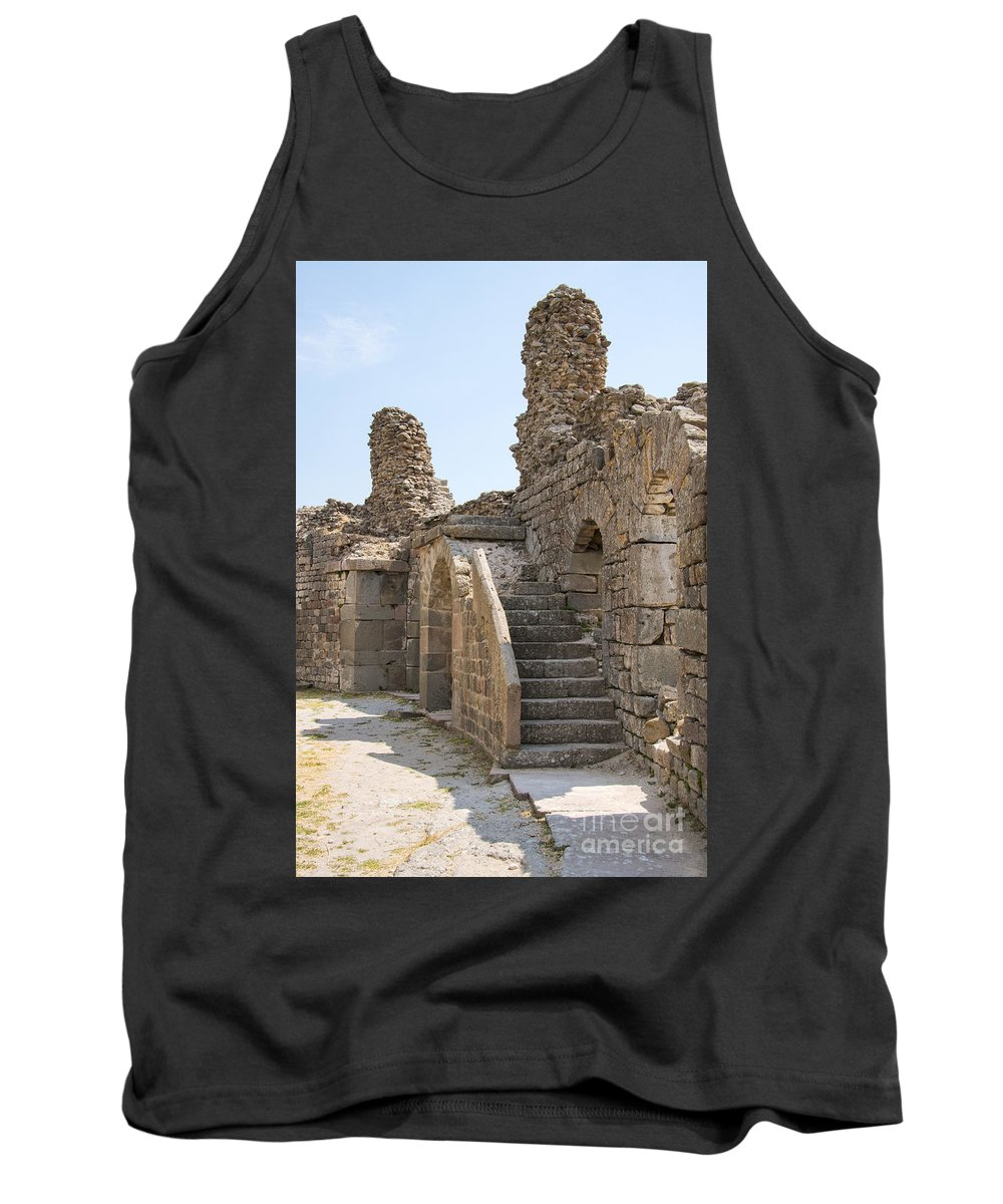 Bergama Pergamon Turkey Asklepion Ancient Asklepios Temple Ruins Temples Ruin Stone Stones Architecture Structures Structures Landmark Landmarks Place Of Worship Places Of Worship Tank Top featuring the photograph Asklepios Temple Ruins View 2 by Bob Phillips