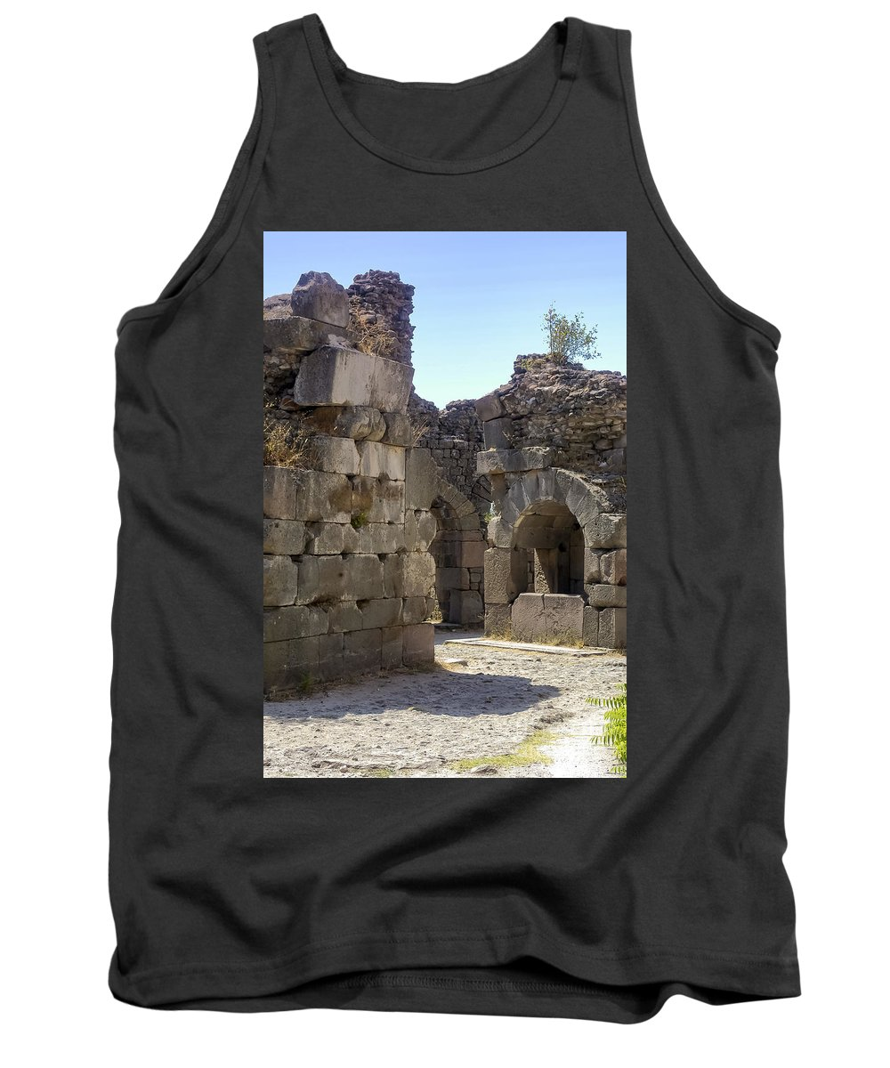Bergama Pergamon Turkey Asklepion Ancient Asklepios Temple Ruins Temples Ruin Stone Stones Architecture Structures Structures Landmark Landmarks Place Of Worship Places Of Worship Tank Top featuring the photograph Asklepios Temple Ruins View 4 by Bob Phillips