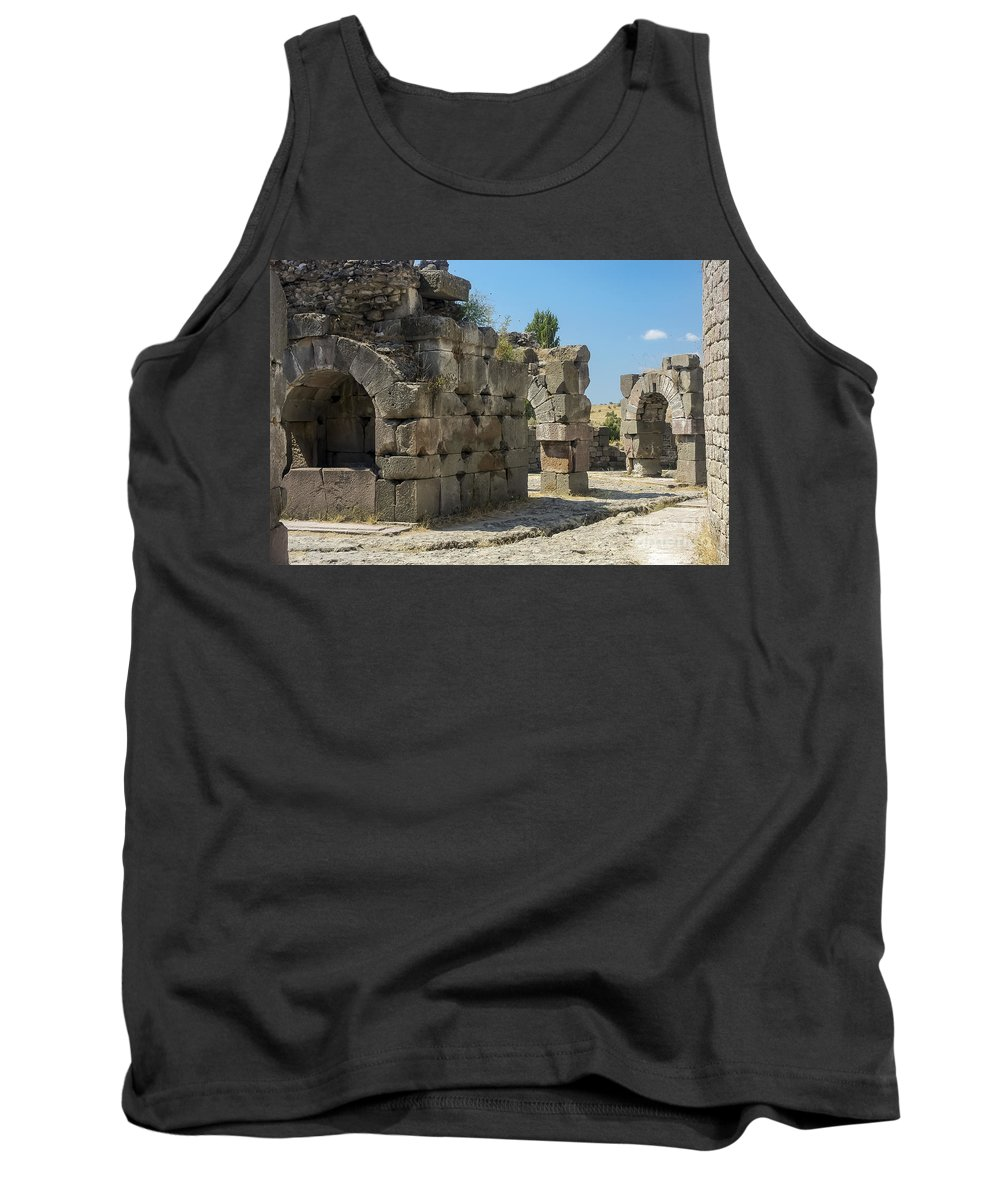 Bergama Pergamon Turkey Asklepion Ancient Asklepios Temple Ruins Temples Ruin Stone Stones Architecture Structures Structures Landmark Landmarks Place Of Worship Places Of Worship Tank Top featuring the photograph Asklepios Temple Ruins View 5 by Bob Phillips