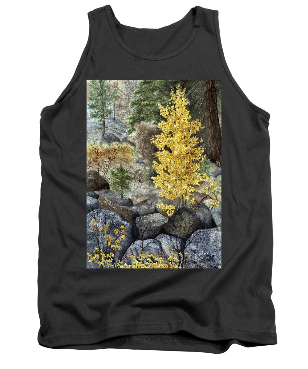 Autumn Tank Top featuring the painting Aspen Gold by Mary Tuomi