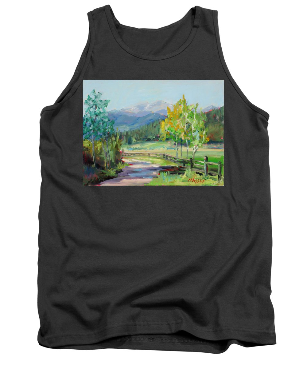 Rocky Mountains Tank Top featuring the painting Aspen Lane by Marie Massey