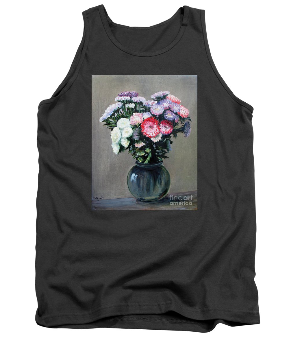 Flowers Tank Top featuring the painting Asters by Paul Walsh