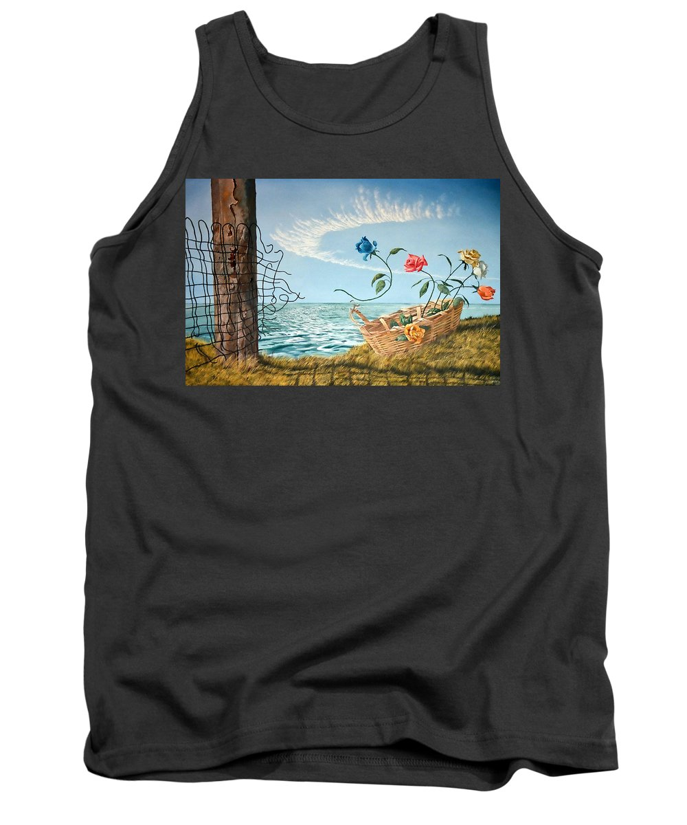Flower Tank Top featuring the painting At The End Of The Fence I Am Free by Christopher Shellhammer