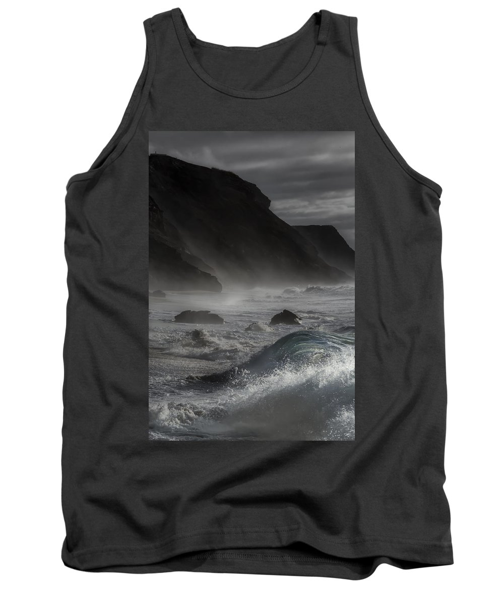 At The Sight Of The Wave Tank Top featuring the photograph At The Sight Of The Wave by Edgar Laureano