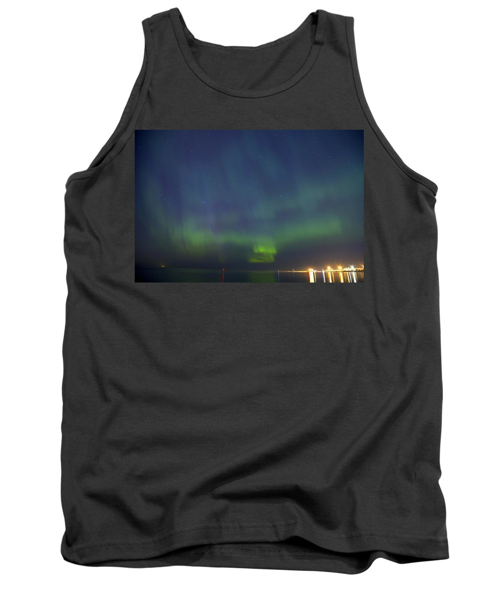 Astronomy Tank Top featuring the photograph Aurora Borealis Northern Lights In North Europe by Sandra Rugina