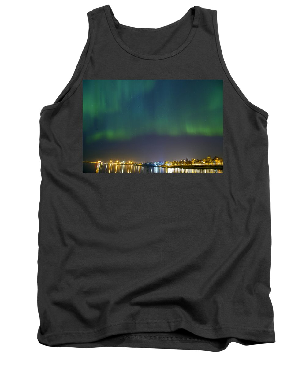 Astronomy Tank Top featuring the photograph Aurora Borealis Northern Lights Over City Of Tallinn by Sandra Rugina