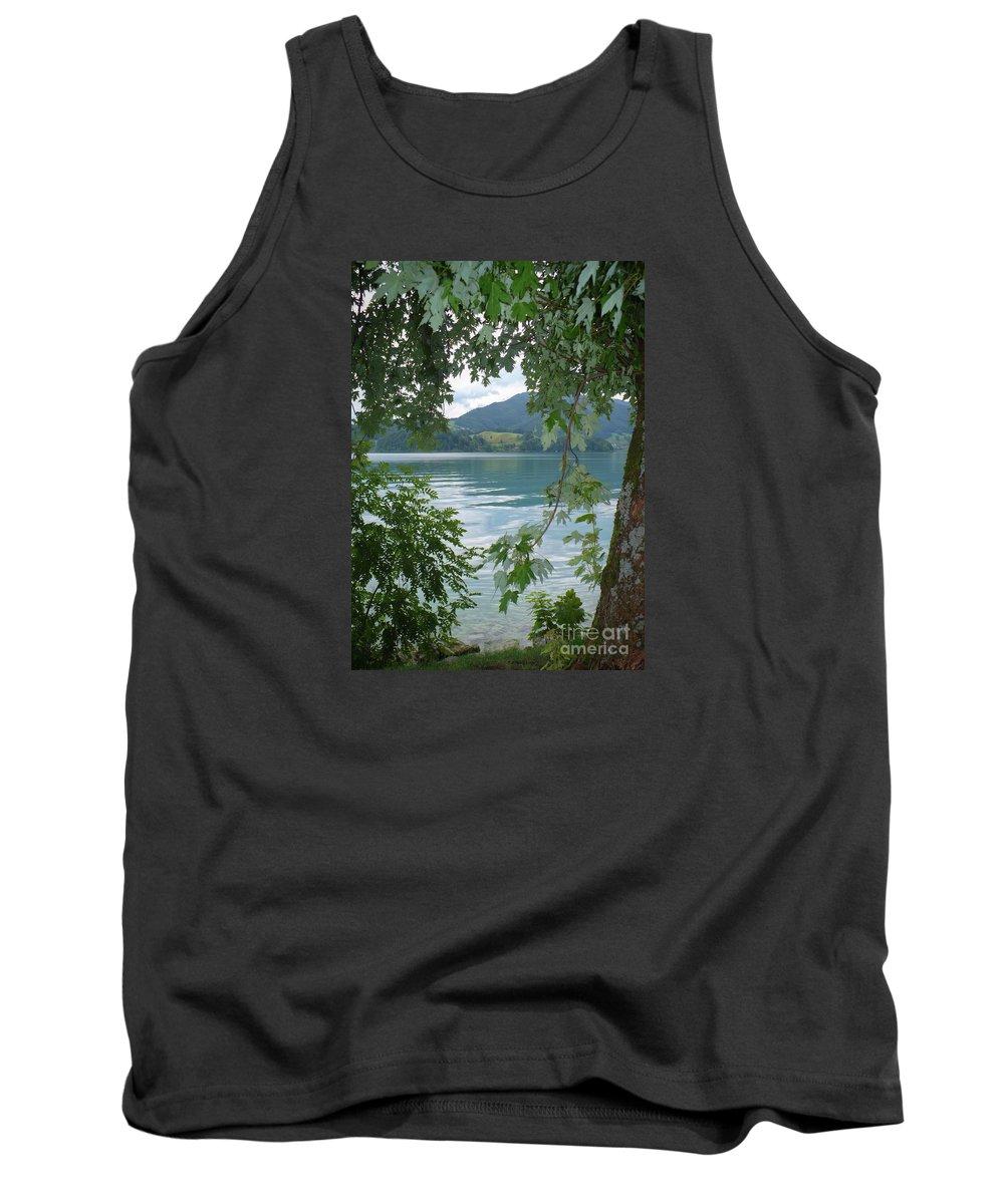 Austria Tank Top featuring the photograph Austrian Lake Through The Trees by Carol Groenen