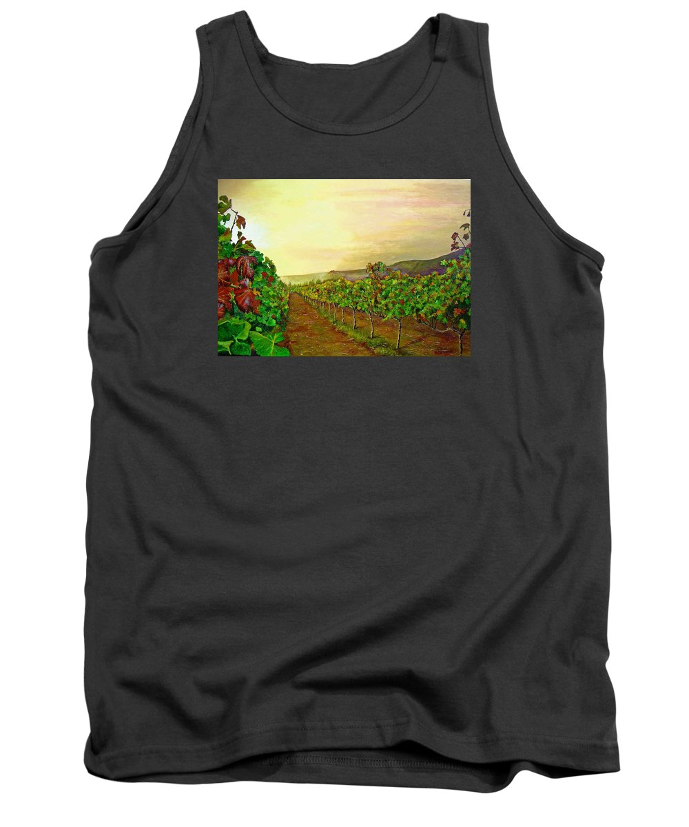 Vineyard Tank Top featuring the painting Autumn At Steenberg by Michael Durst