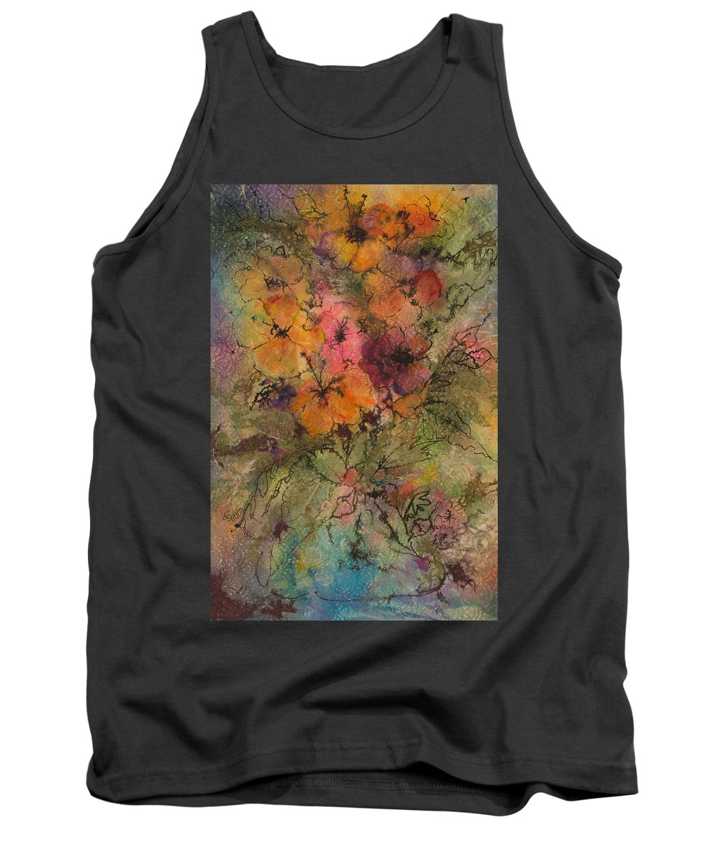Floral Tank Top featuring the painting Autumn Blooms by Barbara Colangelo