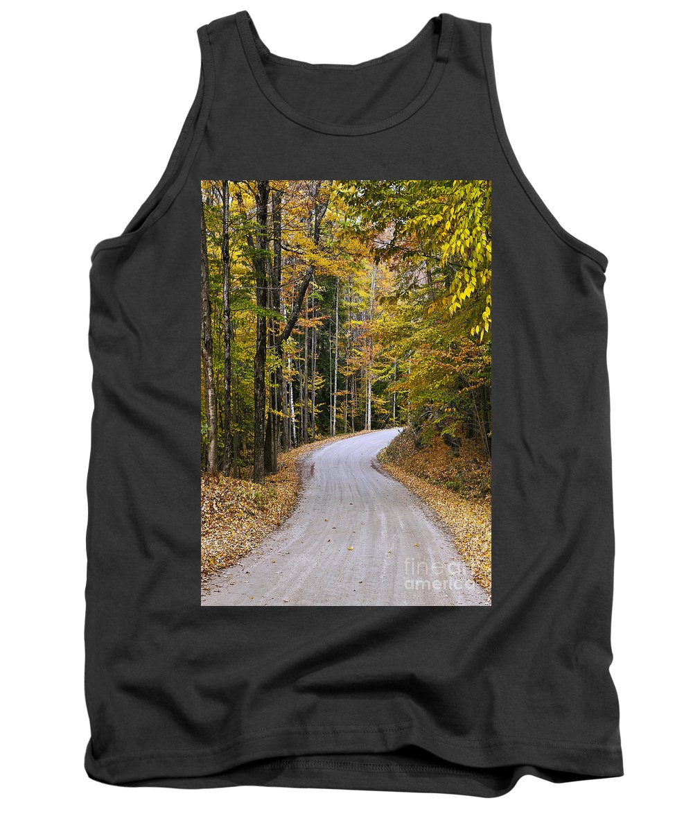 New England Tank Top featuring the photograph Autumn Country Road by John Greim