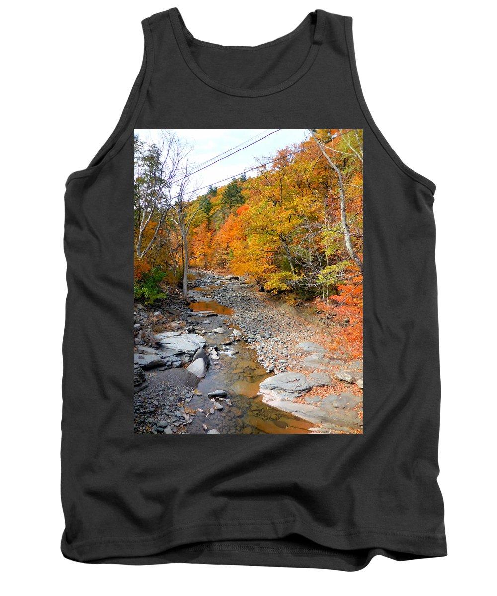 Autumn Creek Tank Top featuring the painting Autumn Creek 3 by Jeelan Clark