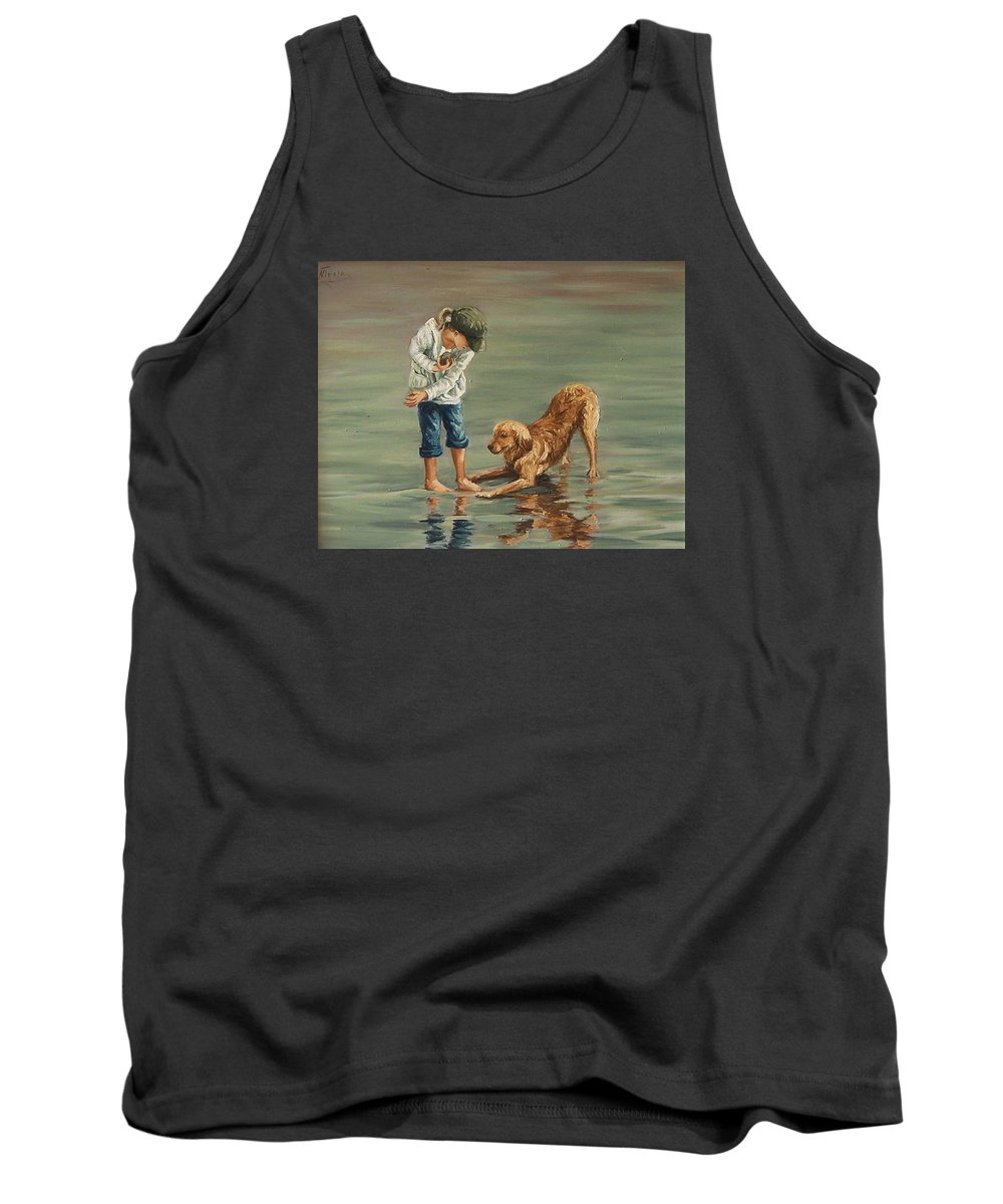 Girl Kid Child Figurative Dog Sea Reflection Playing Water Beach Tank Top featuring the painting Autumn Eve by Natalia Tejera