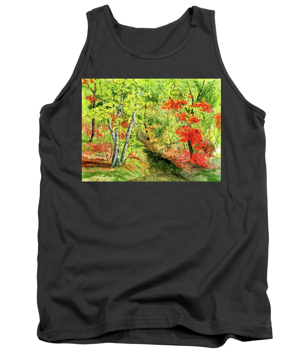 Autumn Tank Top featuring the painting Autumn Fun by Mary Tuomi