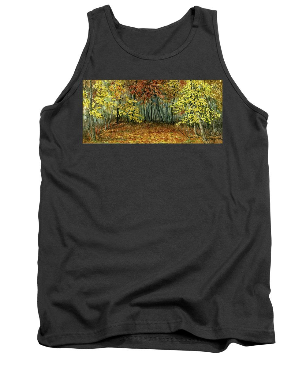 Autumn Tank Top featuring the painting Autumn Hollow by Mary Tuomi