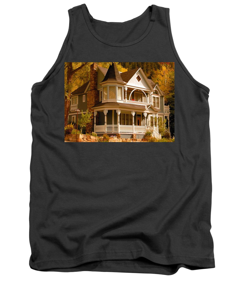 Autumn Tank Top featuring the painting Autumn House by David Lee Thompson