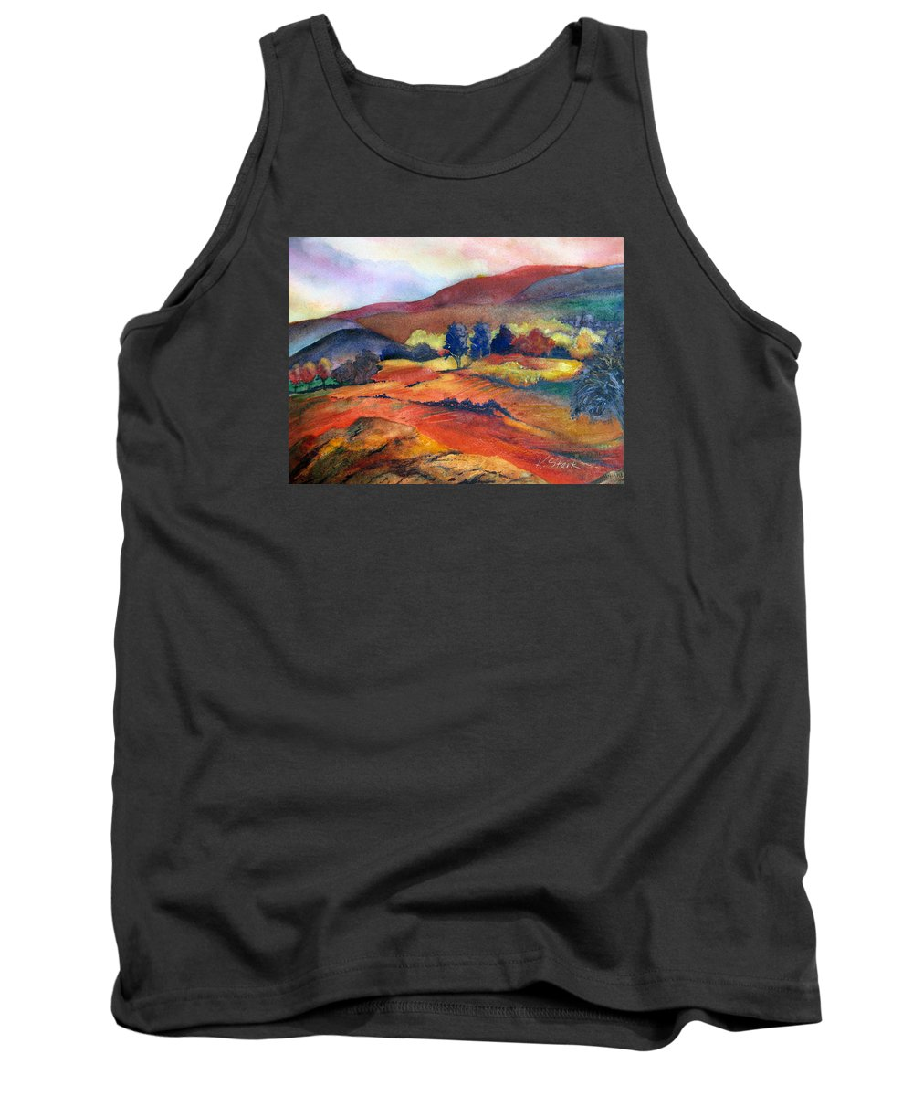 Landscape Tank Top featuring the painting Autumn In The Country by Karen Stark
