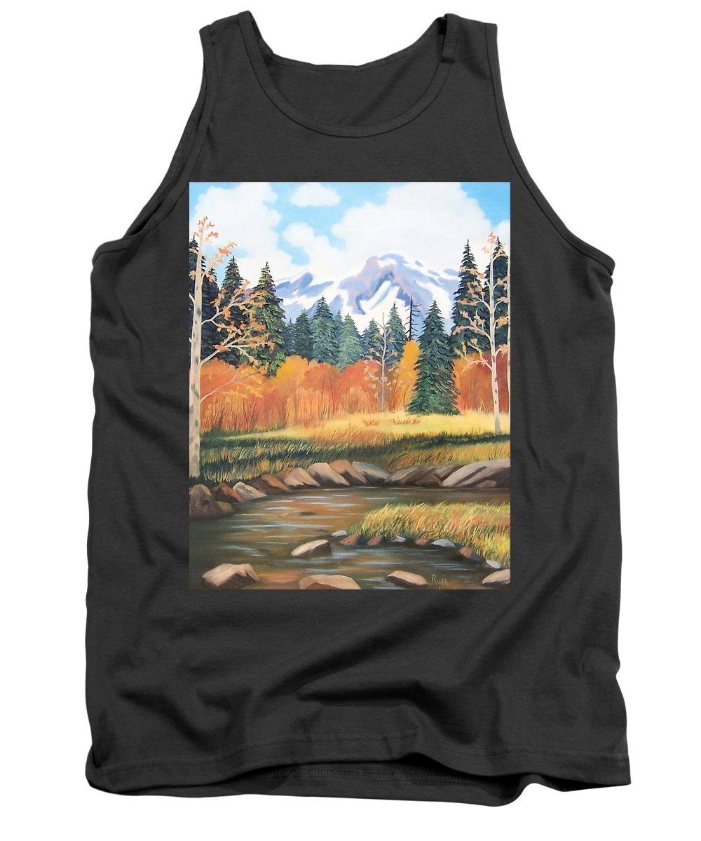 Landscape Tank Top featuring the painting Autumn In The Mountans by Ruth Housley