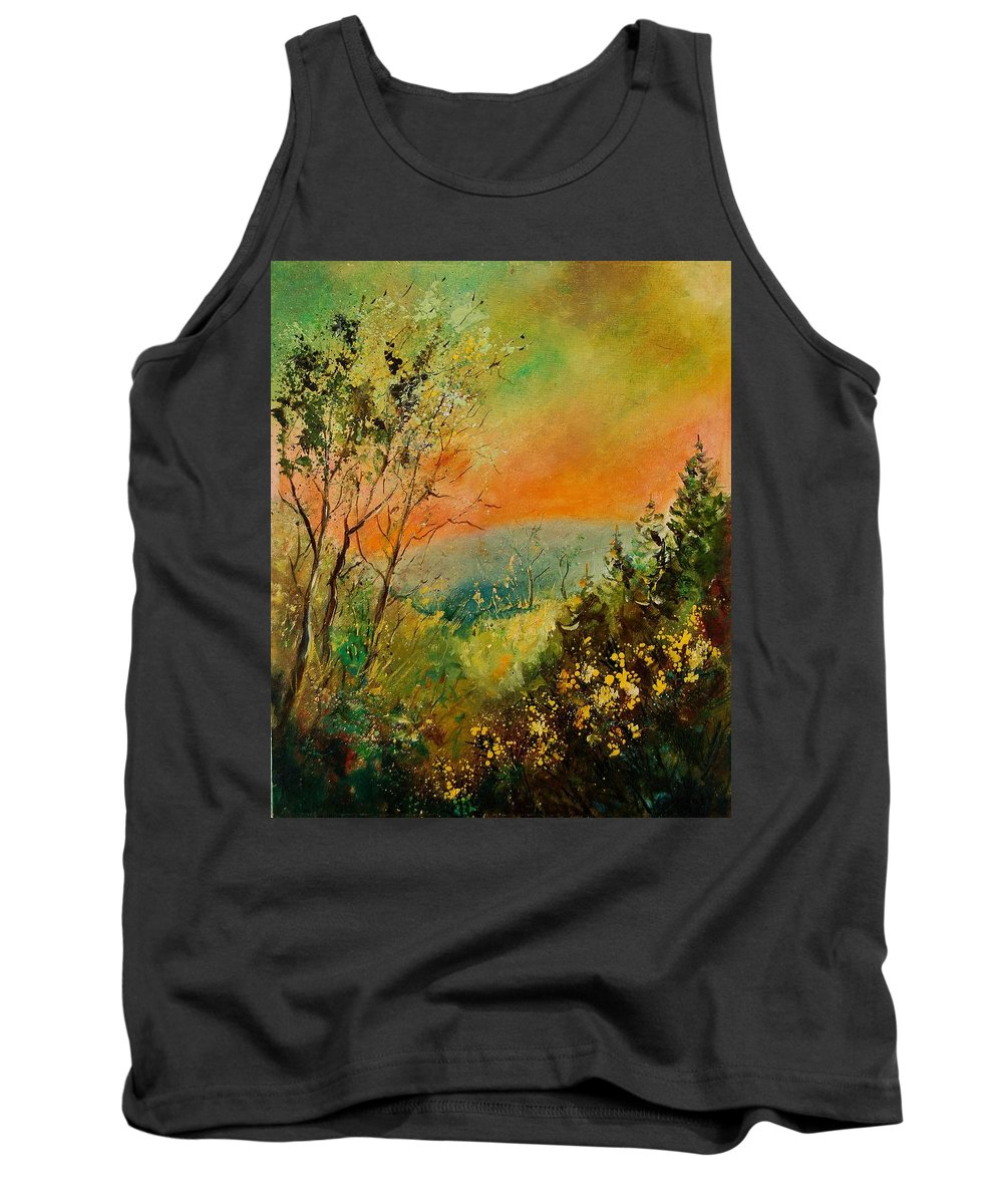 Tree Tank Top featuring the painting Autumn Landscape 5698 by Pol Ledent