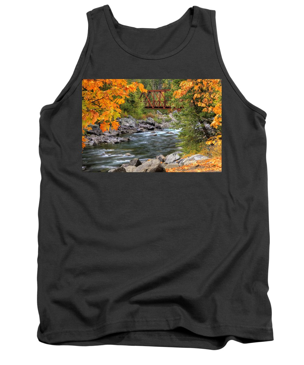 Autumn Tank Top featuring the photograph Autumn Leaves Keep Falling by Eggers Photography