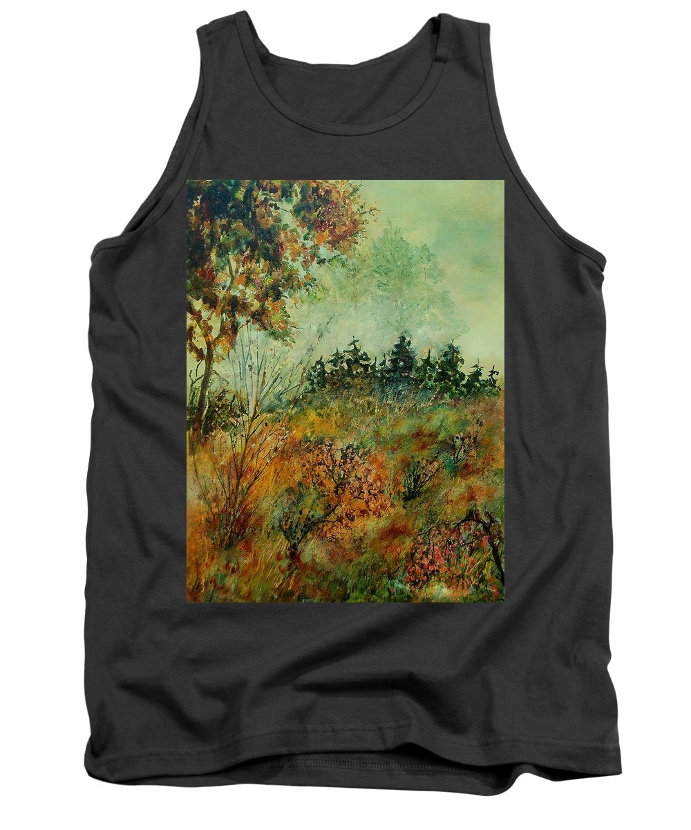 Tree Tank Top featuring the painting Autumn Mist 68 by Pol Ledent