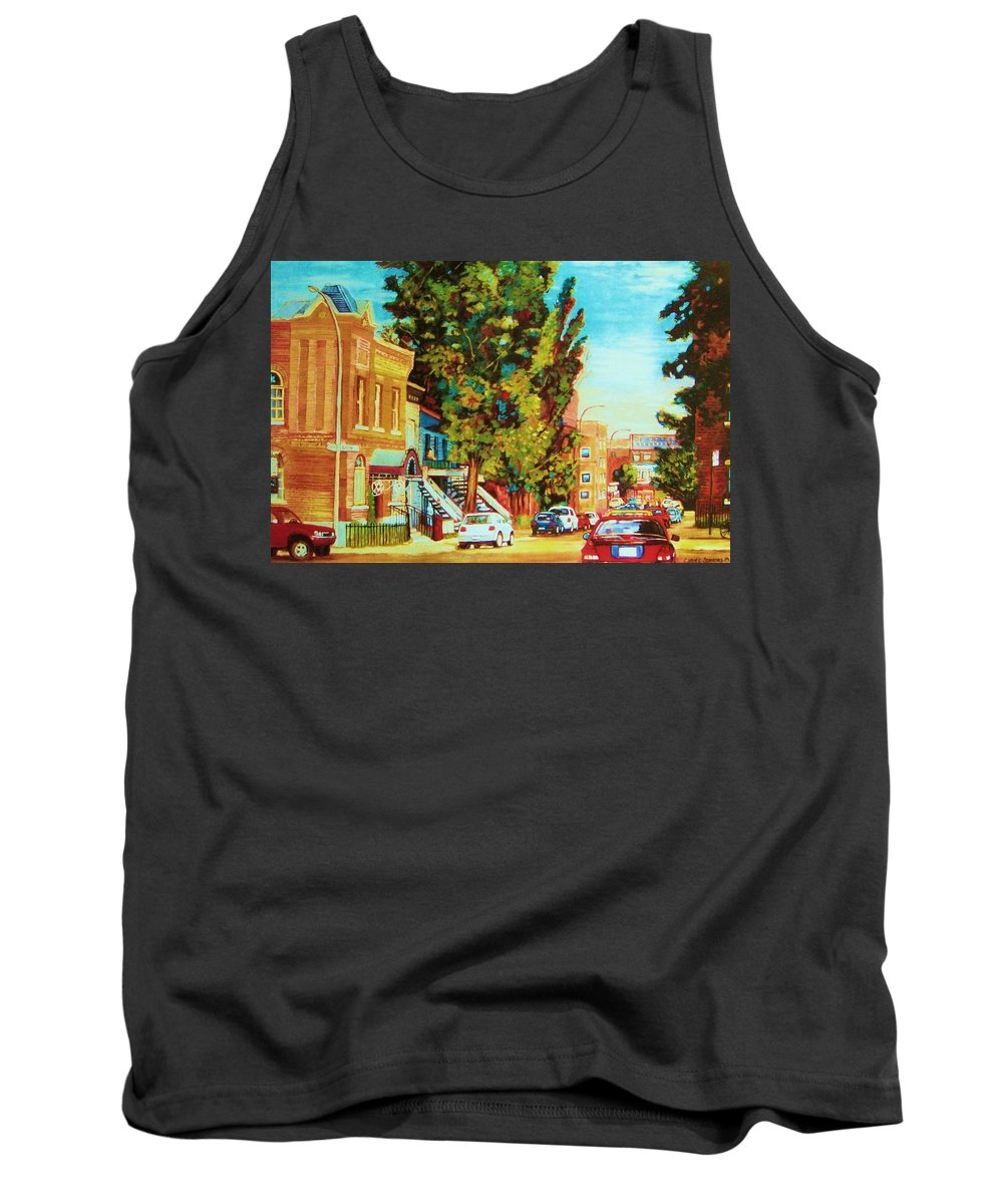 Bagg Street Synagogue Rue Bagg And Clark Tank Top featuring the painting Autumn On Bagg Street by Carole Spandau