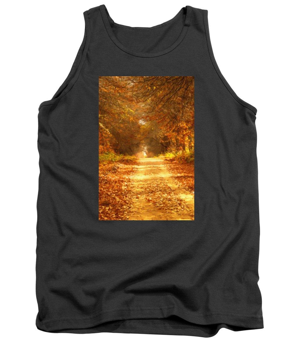 Autumn Tank Top featuring the mixed media Autumn Paradisium by Georgiana Romanovna