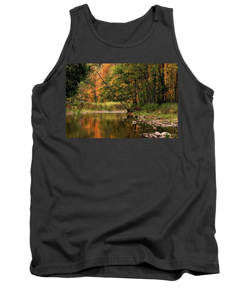 Tree Tank Top featuring the photograph Autumn Reflections by Phill Doherty