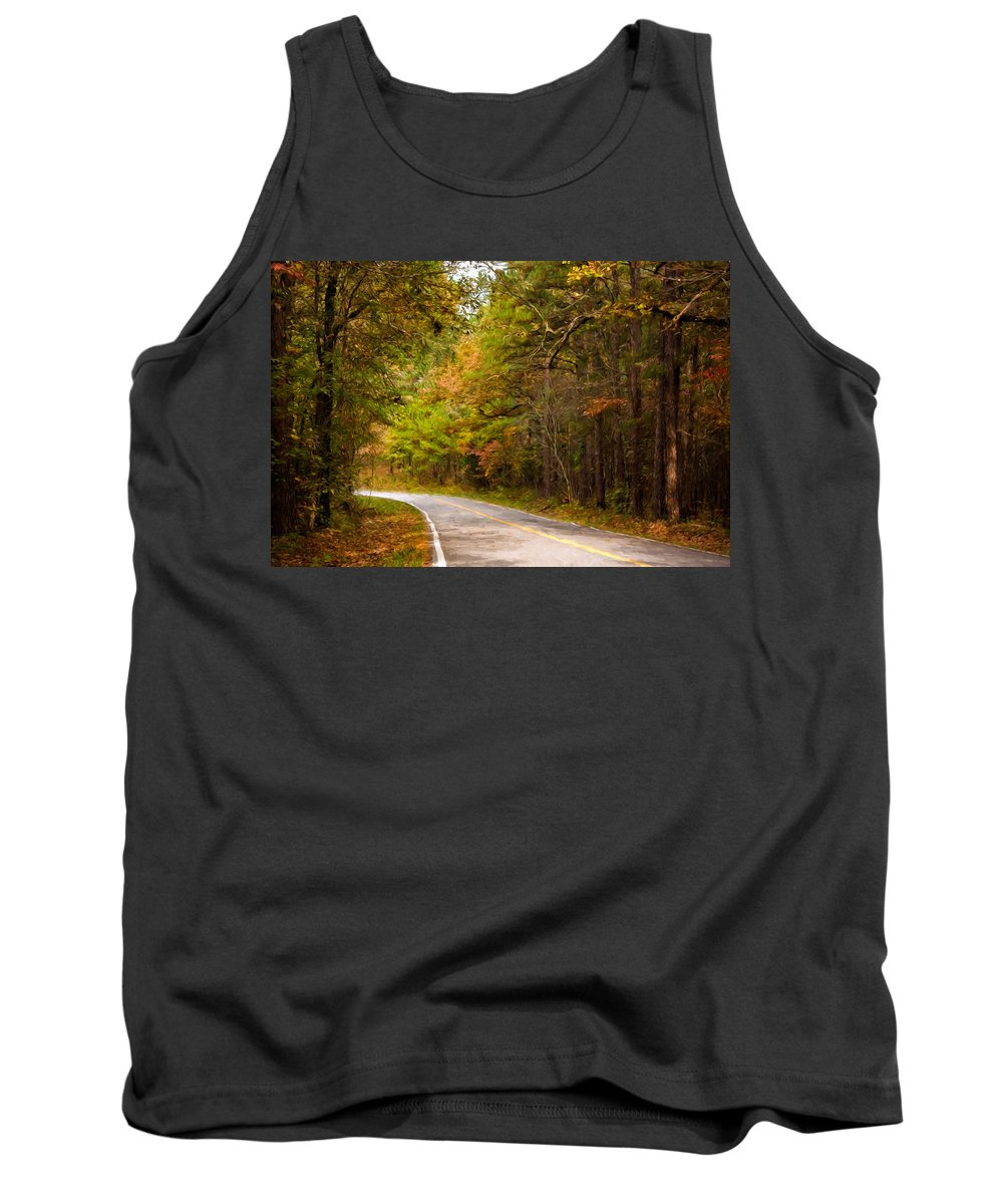 Arkansas Tank Top featuring the photograph Autumn Road by Lana Trussell