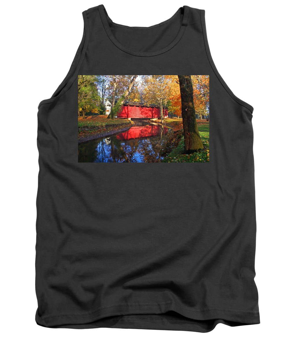 Covered Bridge Tank Top featuring the photograph Autumn Sunrise Bridge II by Margie Wildblood