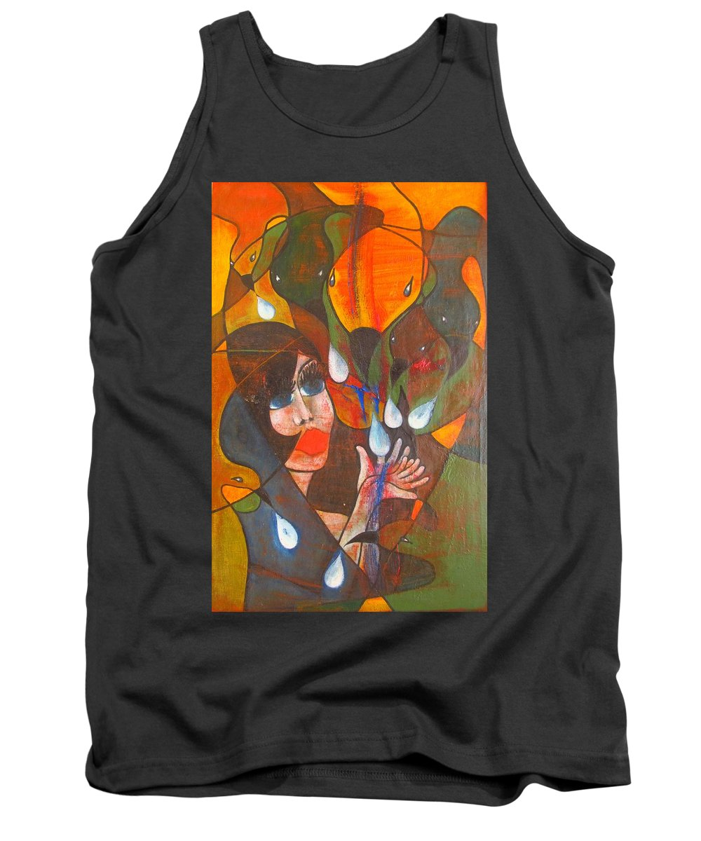 Colour Tank Top featuring the painting Aves by Wojtek Kowalski
