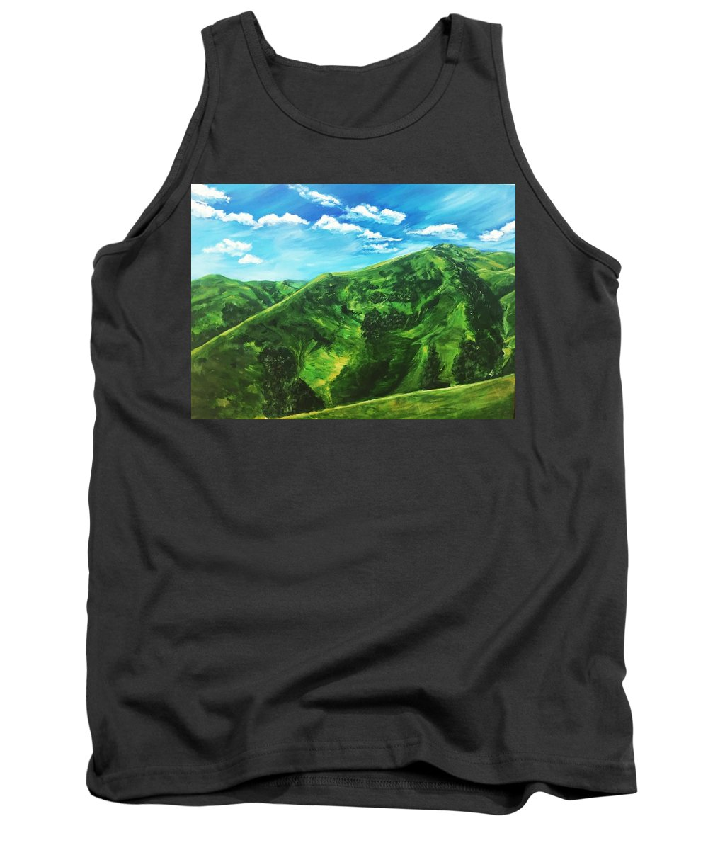 Green Tank Top featuring the painting Awesome Serenity by Belinda Low
