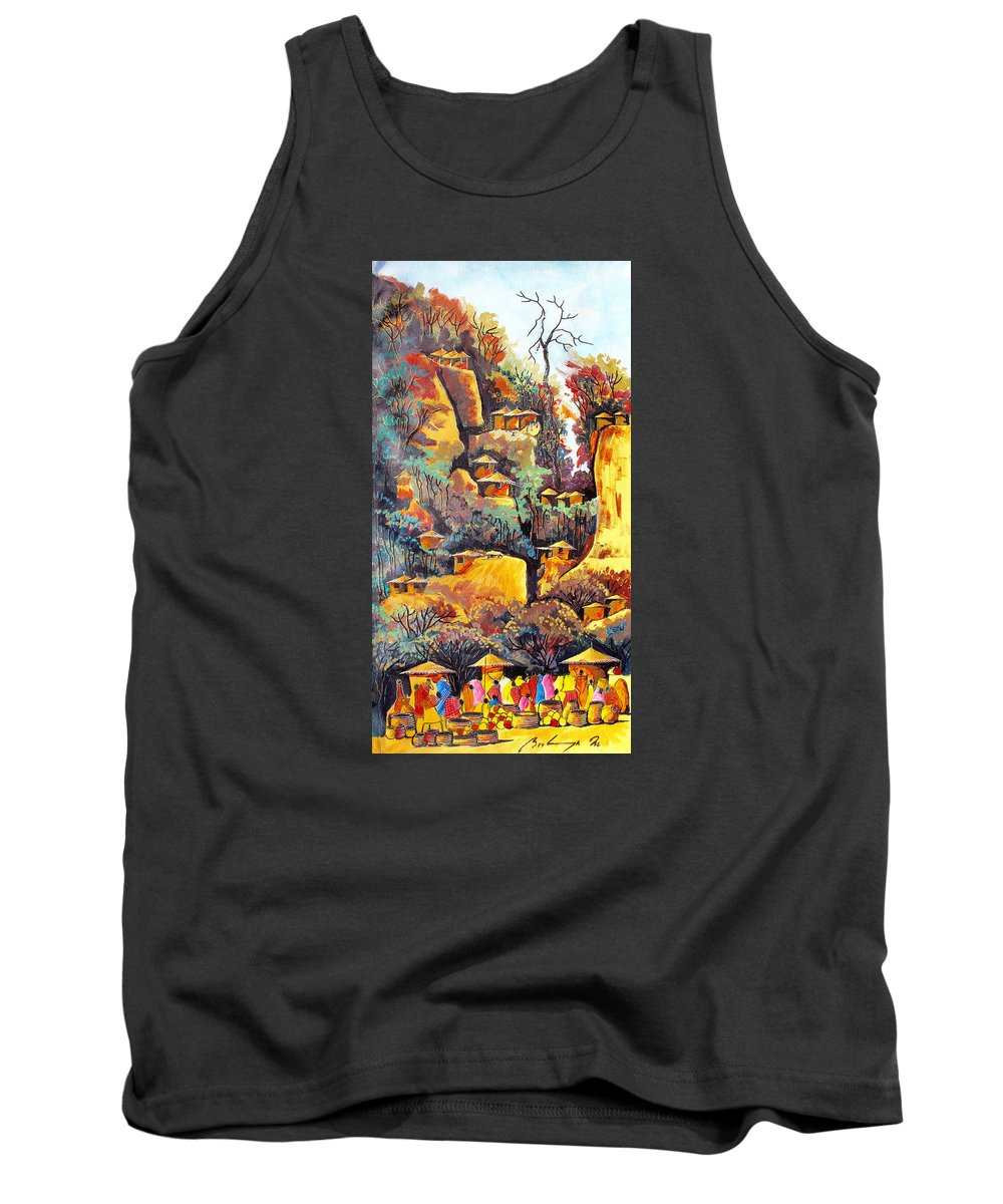 True African Art Tank Top featuring the painting B 364 by Martin Bulinya