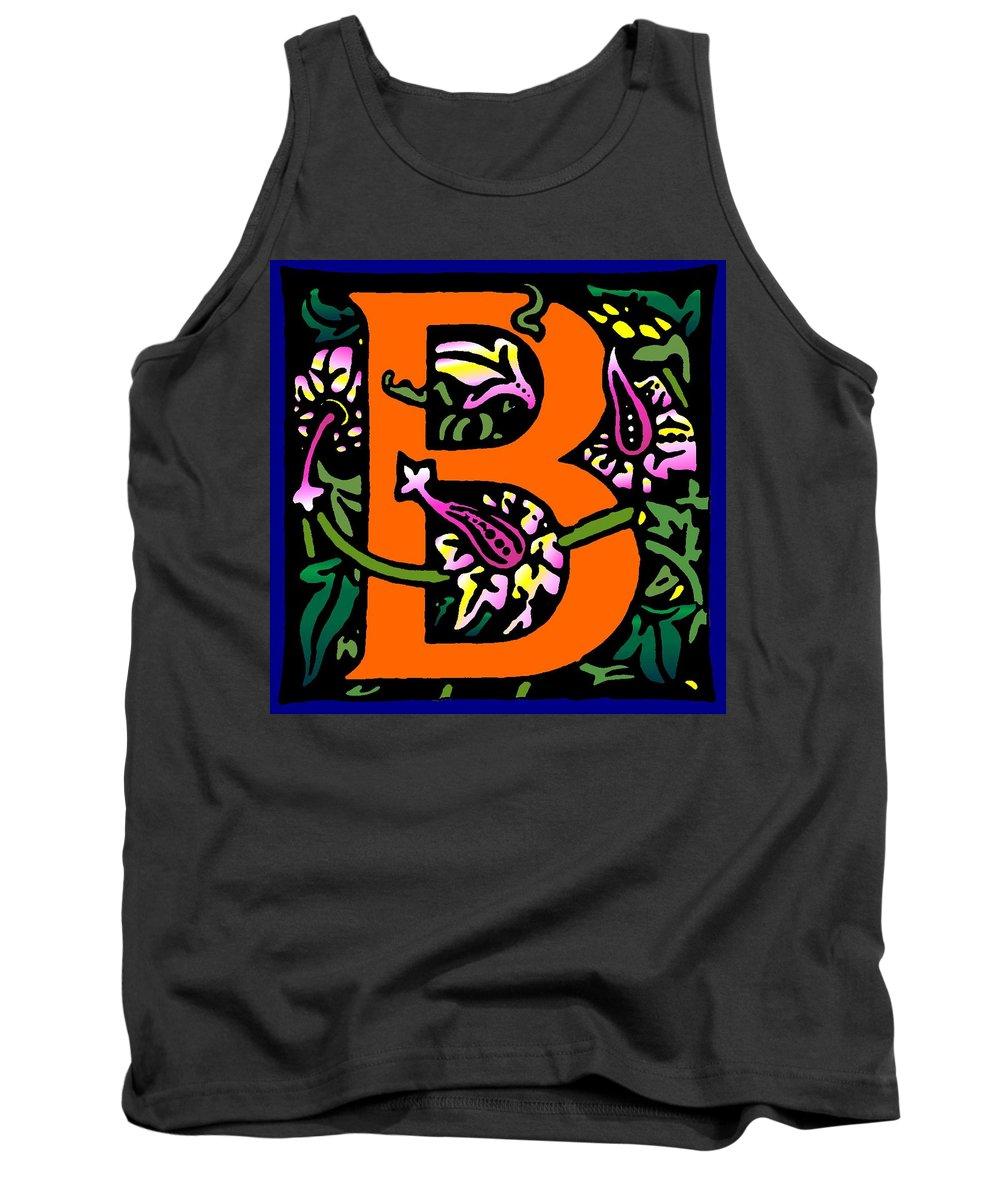 Alphabet Tank Top featuring the digital art B In Orange by Kathleen Sepulveda